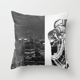 Tattoo and architecture of the city Throw Pillow