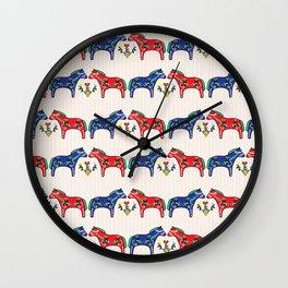 Dala Horse Folk Art Pattern : Scandinavian Dalahast W Stripe Wall Clock