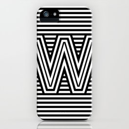 Track - Letter W - Black and White iPhone Case