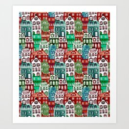Christmas Village in Watercolor Red + Green Art Print