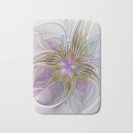 Flourish, Abstract Fractal Art Flower Bath Mat
