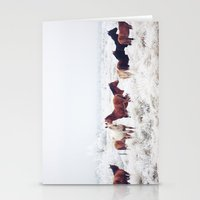 large Stationery Cards featuring Winter Horseland by Kevin Russ