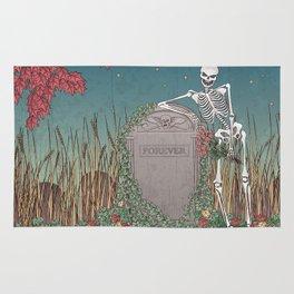 Skeleton Leaning on Grave Rug