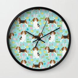 Beagle easter eggs spring dog breeds cute dog pattern beagles pet portraits Wall Clock