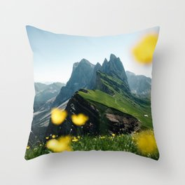 Mountain view Seceda in the Italian Dolomites Throw Pillow