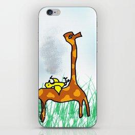 giraffe and the bird iPhone Skin
