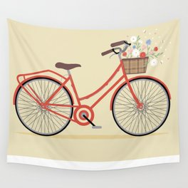 Flower Basket Bicycle Illustration Wall Tapestry