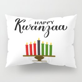 Happy Kwanzaa calligraphy hand lettering. African American holiday. Pillow Sham