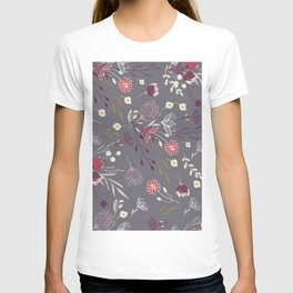 Modern dark lavender pink silver glitter floral illustration T-shirt