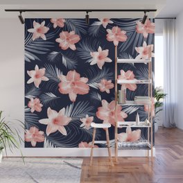 Tropical Flowers Palm Leaves Finesse #6 #tropical #decor #art #society6 Wall Mural