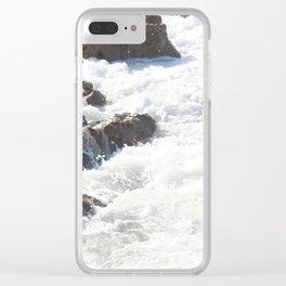 White water, dark rocks Clear iPhone Case