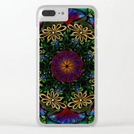 Flower Mandala on Black Clear iPhone Case