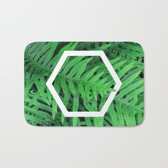Exagon into the ferns Bath Mat