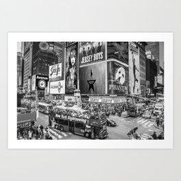 Times Square II (B&W widescreen) Art Print