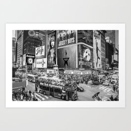 Times Square II (B&W widescreen) Art Print