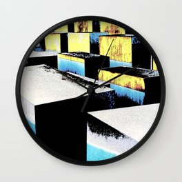 Yellow and blue cubes Wall Clock