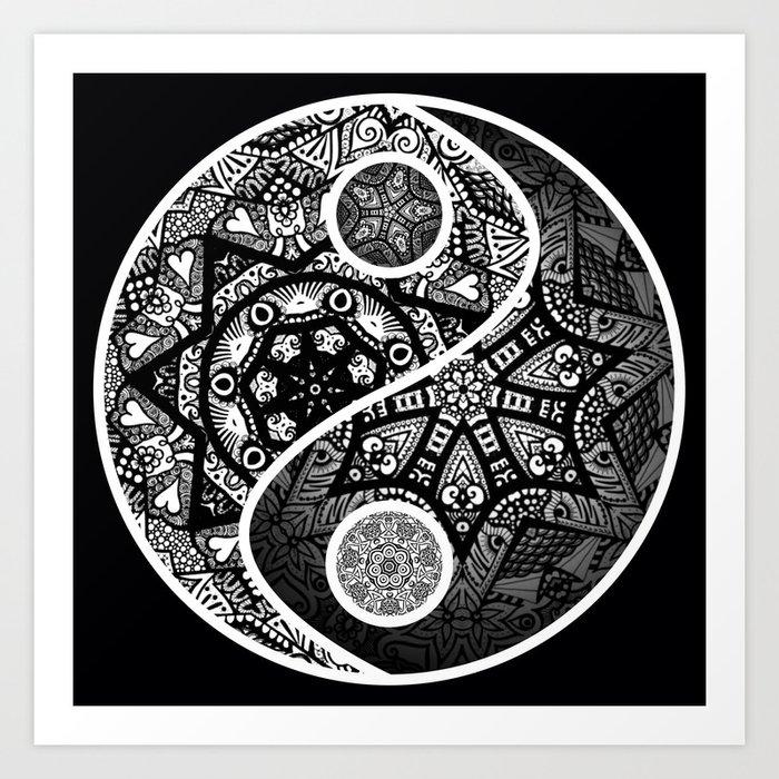 Yin Yang Zentangle Art Print By Wealie Society6