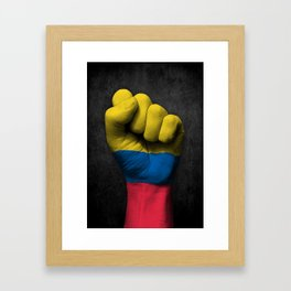 Colombian Flag on a Raised Clenched Fist Framed Art Print