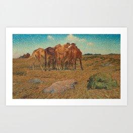 NILS KREUGER,  (A DROVE OF HORSES). Art Print