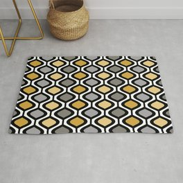 Mid Century Modern Rounded Diamond Pattern // Black, Gray, Gold, Butter Yellow // Version 1 Rug