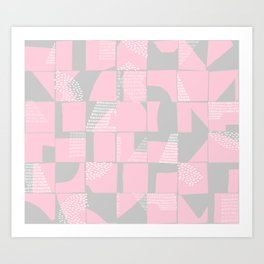 Blush and Gray Typographical Fragments Cheater Quilt Art Print