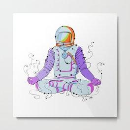 Cosmonaut Padmasana Position Doodle Metal Print