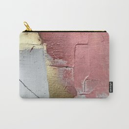 Darling: a minimal, abstract mixed-media piece in pink, white, and gold by Alyssa Hamilton Art Carry-All Pouch
