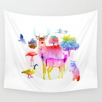 hunting Wall Tapestries featuring Protest against hunting animals by Design4u Studio