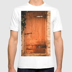 Old Pig Shed Door MEDIUM Mens Fitted Tee White
