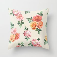 Retro Peach and Pink Roses Throw Pillow