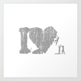 I Love Bouldering (white) Art Print
