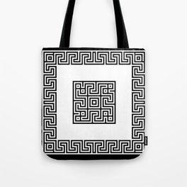 Greek Key black Tote Bag
