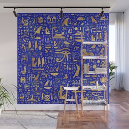 Ancient Egyptian hieroglyphs -Lapis Lazuli and Gold Wall Mural