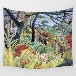 Tiger in a Tropical Storm (Surprised!) by Henri Rousseau 1891 // Jungle Rain Stormy Weather Scene Wall Tapestry