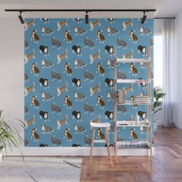 Australian Shepherd Pattern (Blue Background) Wall Mural