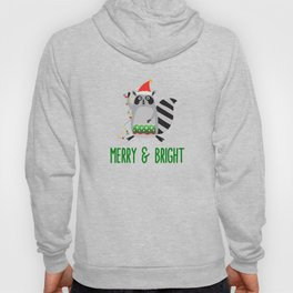 Merry & Bright Racoon with Christmas Lights Hoody