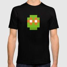hero pixel green orange Black Mens Fitted Tee MEDIUM