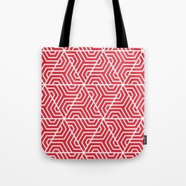 Rose madder - red - Geometric Seamless Triangles Pattern Tote Bag
