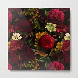 Dutch Midnight Vintage Red Roses Garden Metal Print
