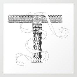 """Zenletter """"T"""" Art Print"""