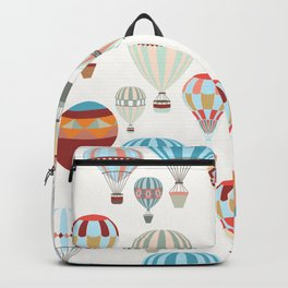 Adventure illustration pattern with air balloons in vintage hipster style Backpack