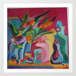 Happy Flowers and Vase Art Print