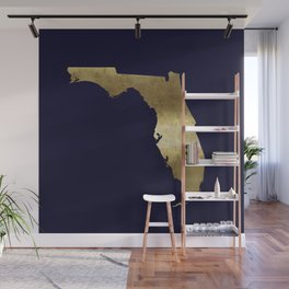 Florida Gold Foil Navy Background Wall Mural