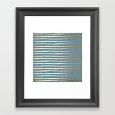 Abstract Stripes Gold Tropical Ocean Blue Framed Art Print