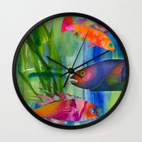 hippy Wall Clocks featuring Hippy fish by ariesmoon