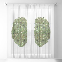 Circuit brain Sheer Curtain