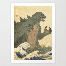 Godzilla Ukiyo-e  Art Print