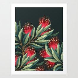 Pohutukawa - Red / Natural Green Art Print