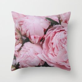 Pink Flowers Photography Throw Pillow