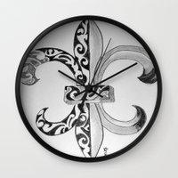 fleur de lis Wall Clocks featuring Fleur De Lis - Drawing by neena